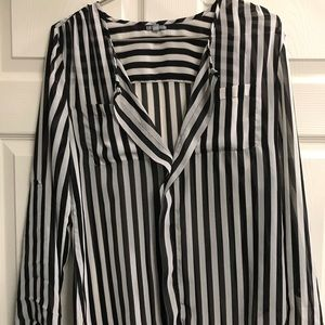 Charlotte Russe Small Black & White Striped Blouse